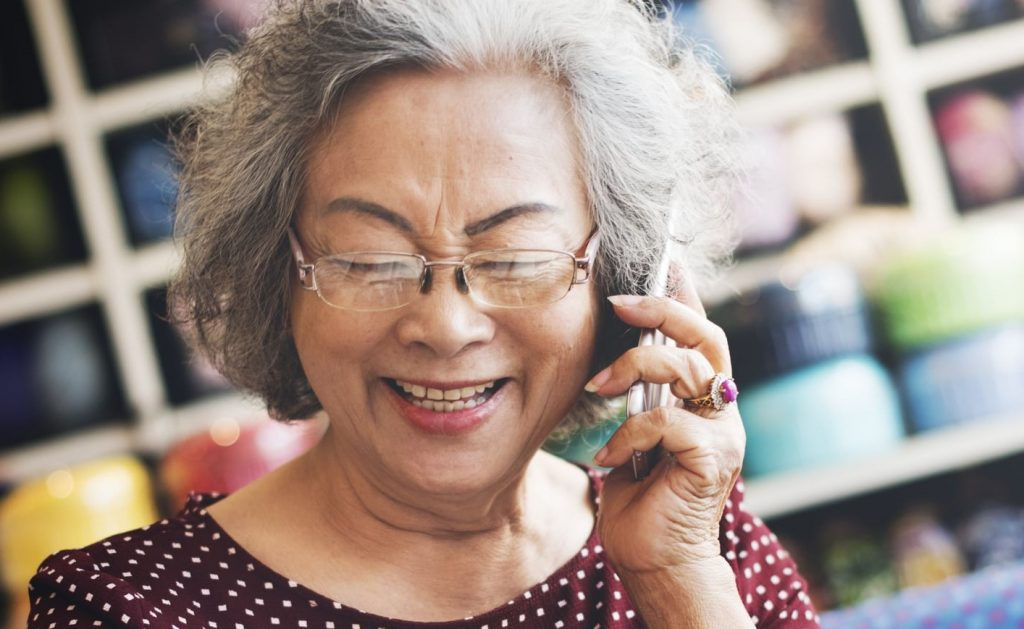 senior talking on phone