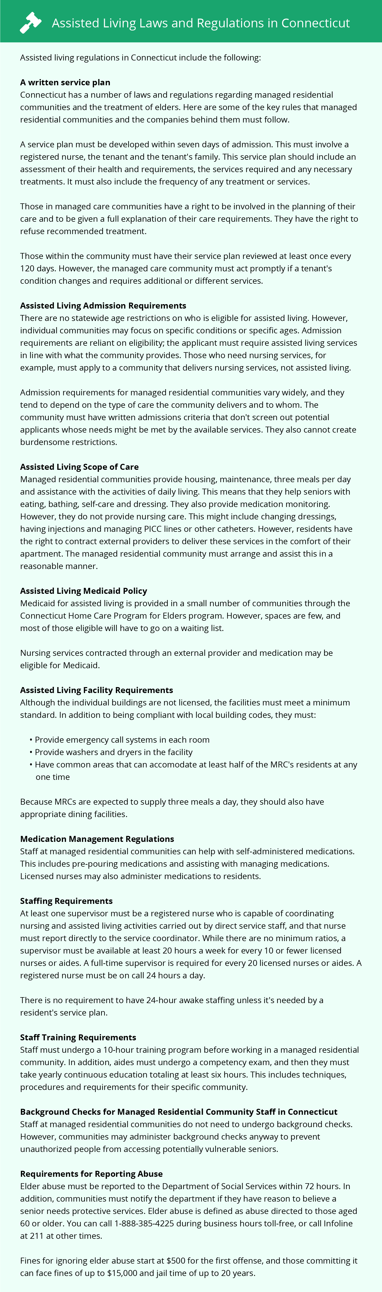 Assisted Living Laws and Regulations in Connecticut