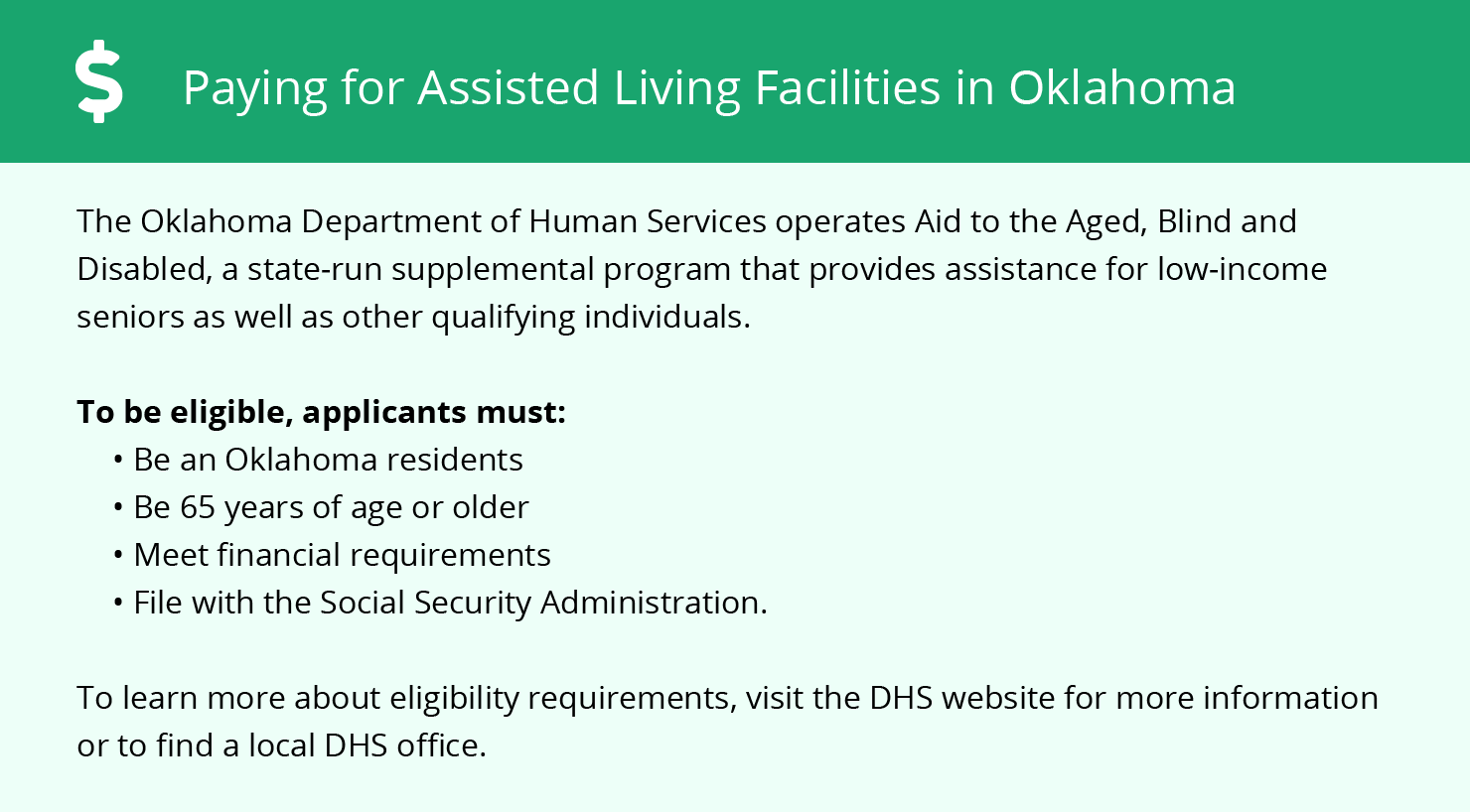 Financial Assistance for Assisted Living in Bixby