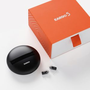 eargo 5 hearing aid with charging case and box