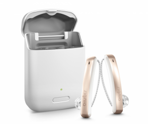 pair of signia styletto hearing aids with charging case