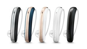 signia styletto x hearing aids in 5 colors (black/grey, navy/tan, white/tan, white/white, black/black)
